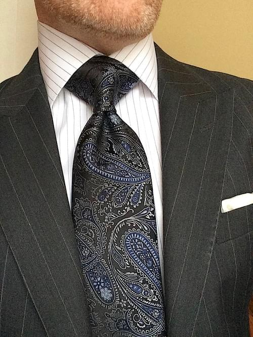 CLEARANCE: Black Navy Silver Paisley Tie