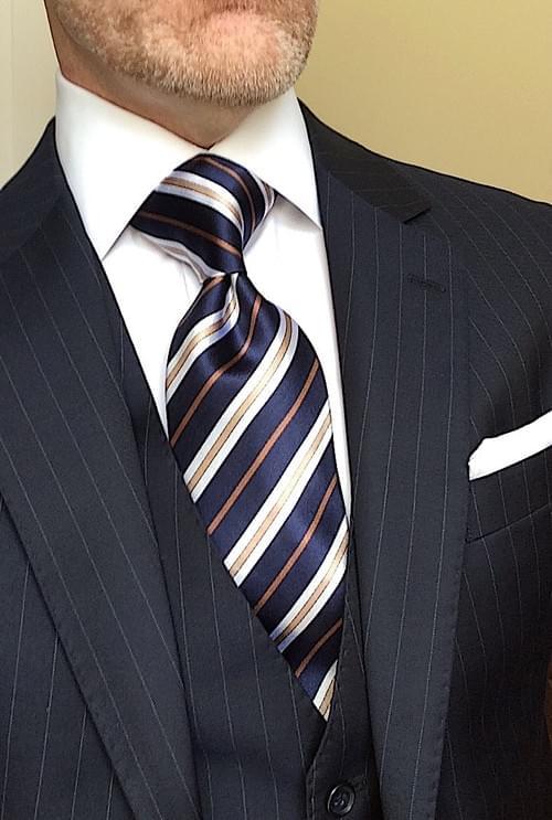 CLEARANCE: Navy Khaki Striped Tie