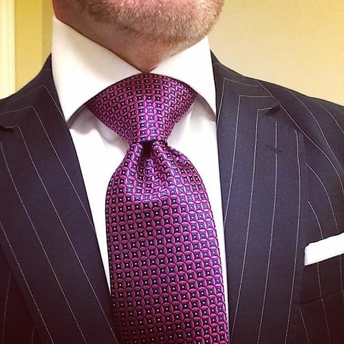 CLEARANCE: Pink Navy Circle Geometric Tie