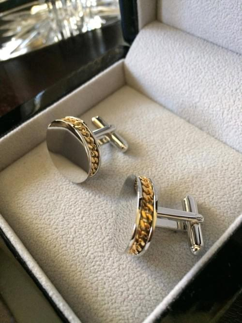 Two Tone Channel Chain Cufflinks