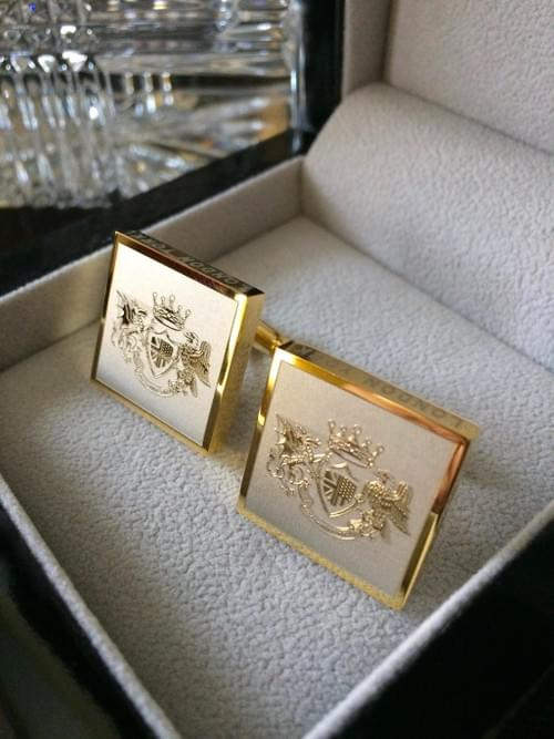 Two Tone Square Crest Cufflinks