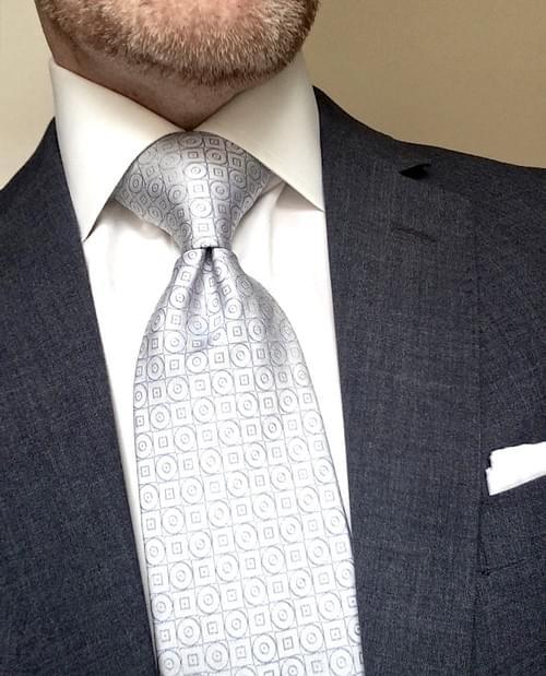 CLEARANCE: Silver Blue Geometric Tie