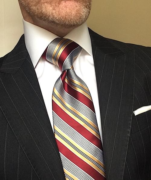CLEARANCE: Maroon Gold Silver Striped Tie