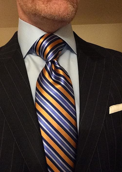 CLEARANCE: Light Blue Navy Orange Striped Tie