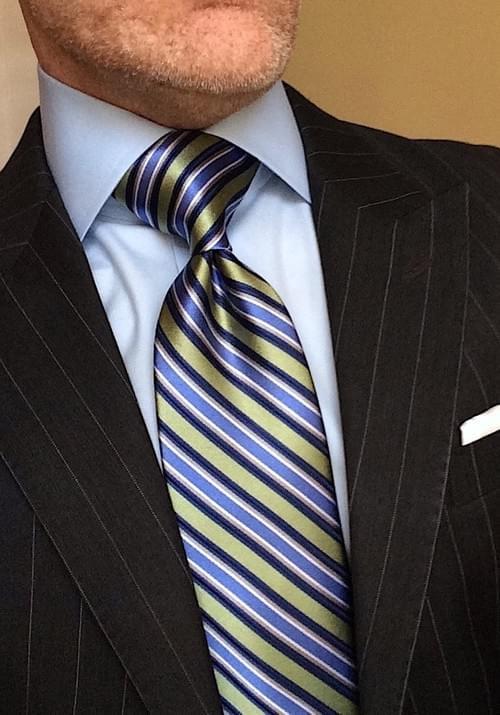 CLEARANCE: Sky Blue Meadow Green Striped Tie