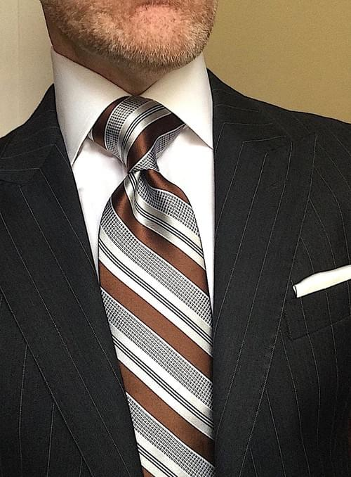 CLEARANCE: Brown Silver Striped Tie