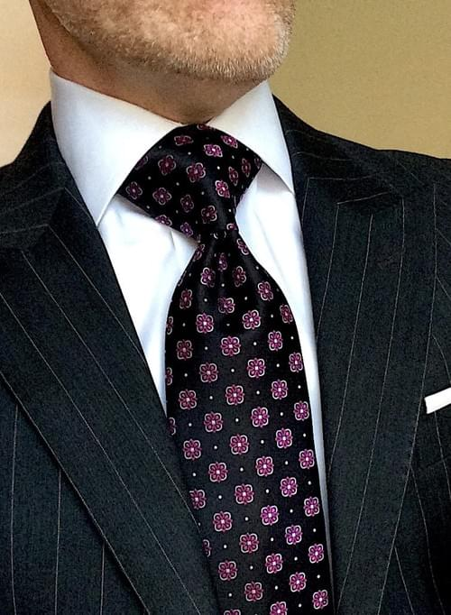 CLEARANCE: Black with Pink Fleurette Tie
