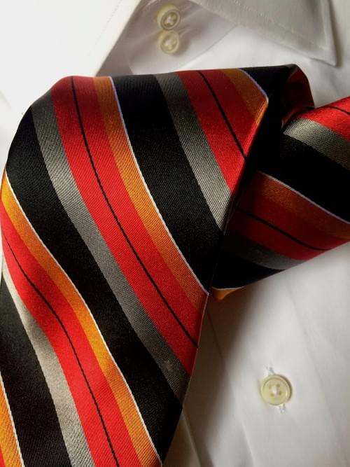 CLEARANCE: Sienna Red Silver Black Striped Tie