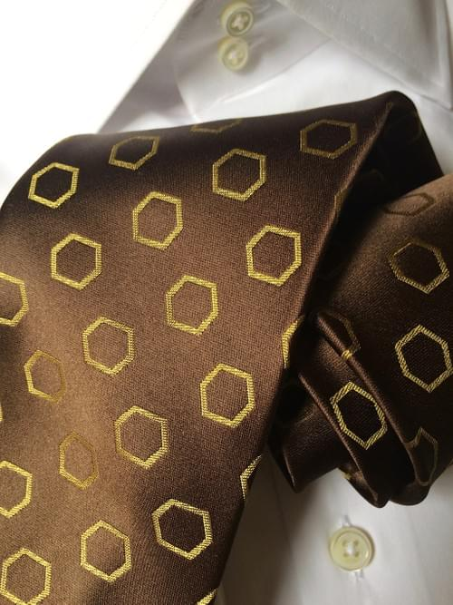 Brown Satin with Gold Hexagons Tie