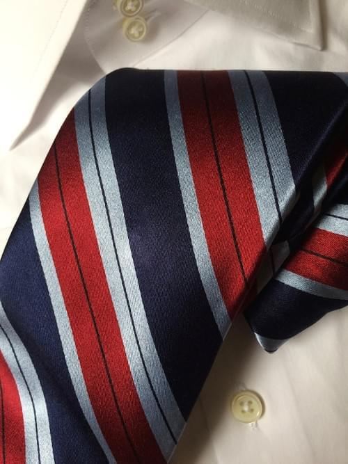 Burgundy Light Blue Navy Striped Tie