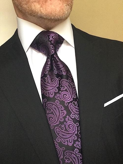 CLEARANCE: Black Violet Paisley Tie