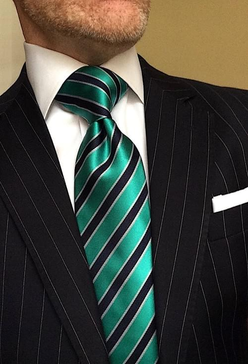 CLEARANCE: Aquamarine Navy Striped Tie