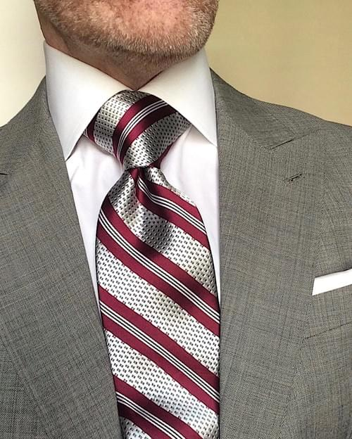 CLEARANCE: Burgundy Silver Chainmail Striped Tie