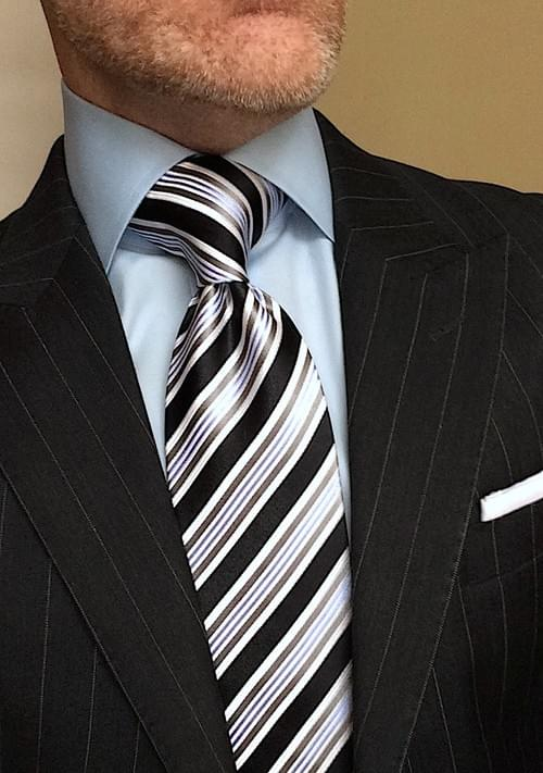 CLEARANCE: Black Light Blue Striped Tie