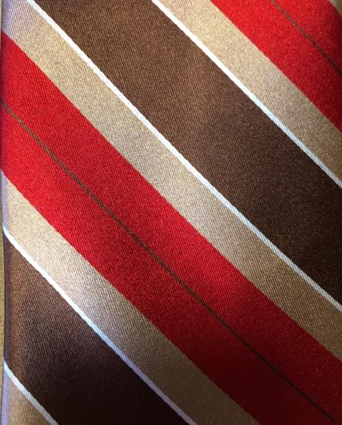Red Brown Tan Striped Tie