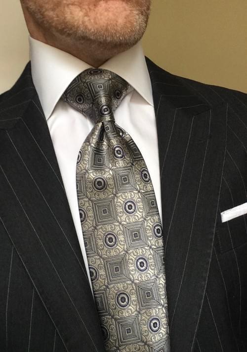 Silver Blue Square Medallion Tie