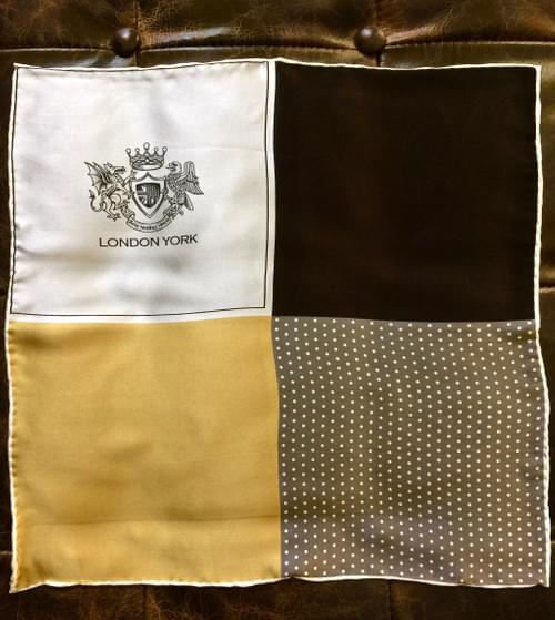 Gold Black Quadrant Silk Handkerchief