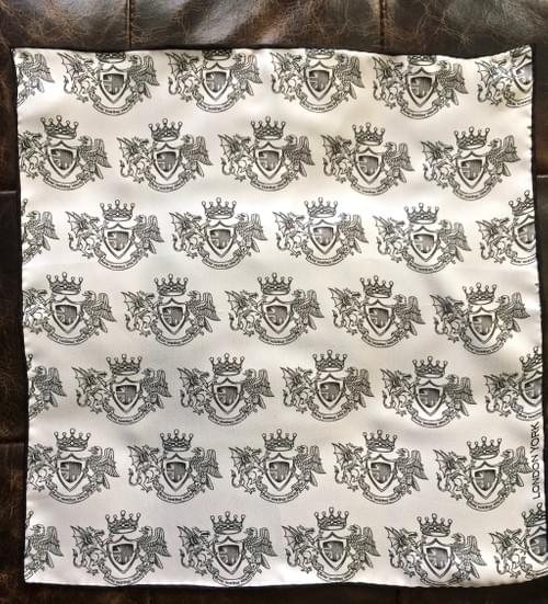 London York Crest Silk Handkerchief (B&W)