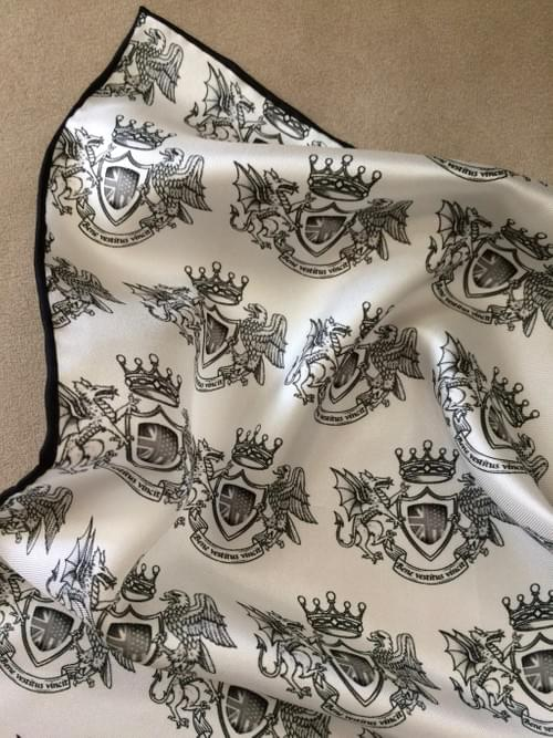 London York Crest Silk Handkerchief (B&W)