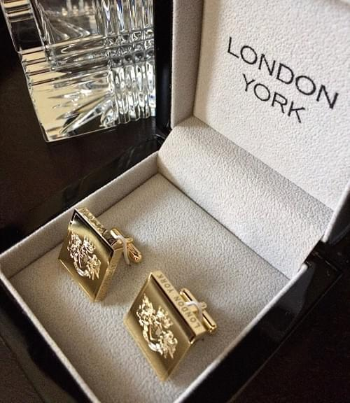 Square Crest 24K Gold-Plated Cufflinks