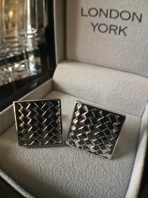 Square Basketweave Polished Steel Cufflinks