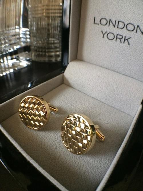 Round Basketweave 24K Gold-Plated Cufflinks