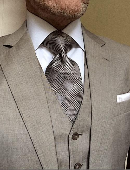 CLEARANCE: Taupe Glen Plaid Silk Woven Tie