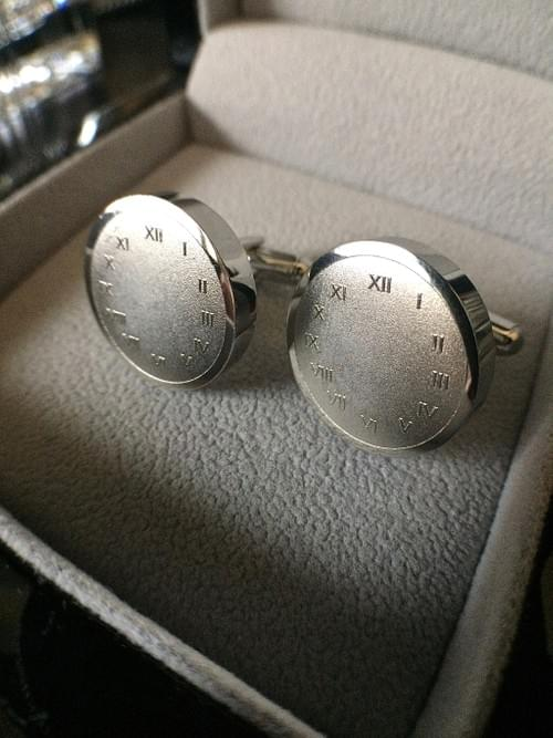Timeless & Forever Polished Steel Cufflinks