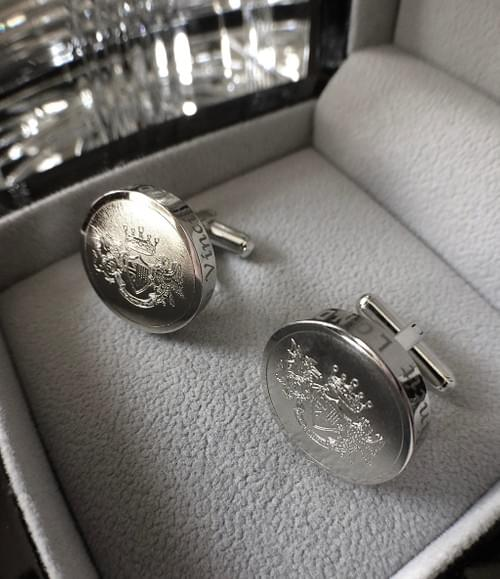Round Crest Polished Steel Cufflinks