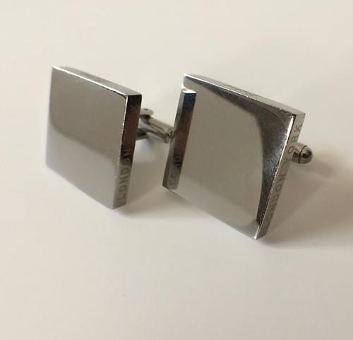 Square Smooth Polished Steel Cufflinks