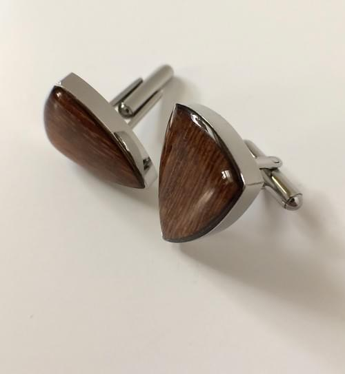Wood Inlay Shield Cufflinks