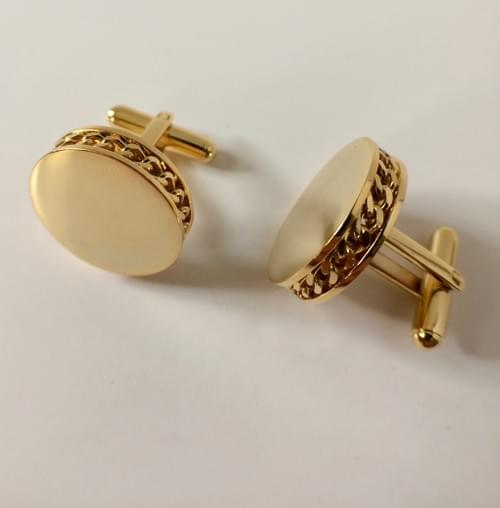 Chain Channel 24K Gold-Plated Cufflinks