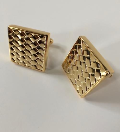 Square Basketweave 24K Gold-Plated Cufflinks