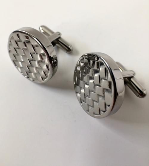 Round Basketweave Polished Steel Cufflinks