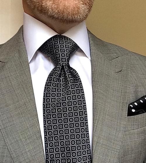 CLEARANCE: Black White Geometric Tie