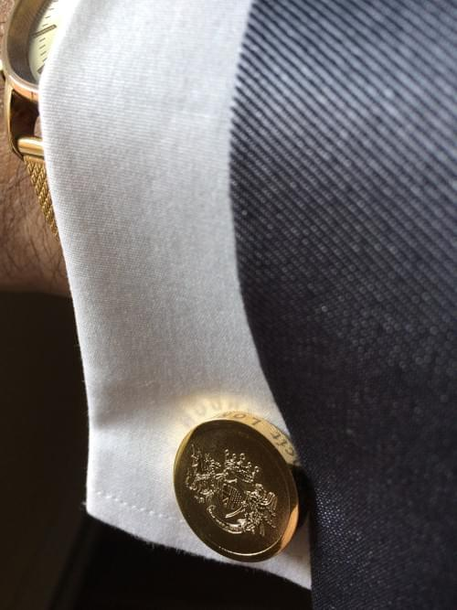Round Crest 24K Gold-Plated Cufflinks