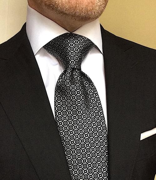 CLEARANCE: Black Silver Micro-Medallion Tie