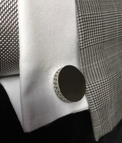 Chain Channel Polished Steel Cufflinks