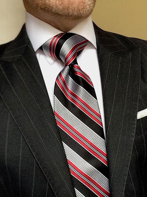 CLEARANCE: Black Red Silver Striped Tie