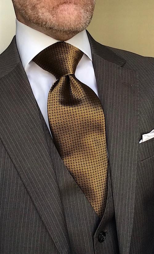 CLEARANCE: Gold Black Basketweave Tie