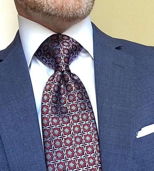 Sky Blue Red Black Medallion Weave Tie