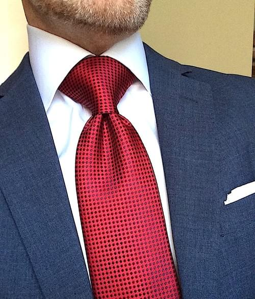 Red with Navy Dot Tie