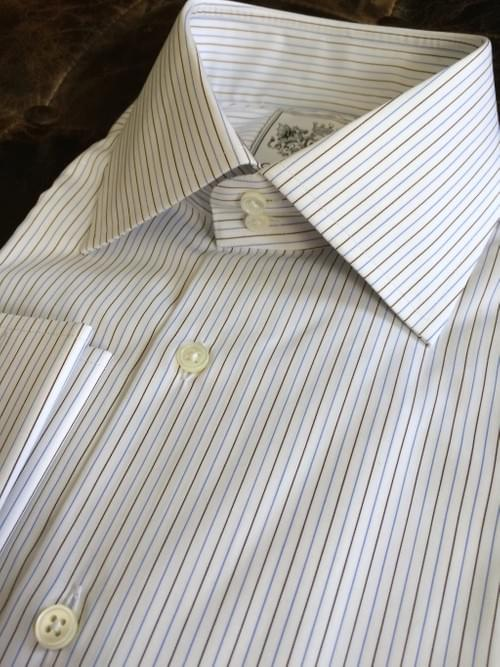 Brown & Light Blue Thin Stripe Tailored Executive Shirt