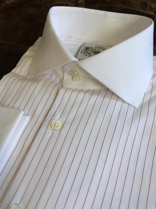 Burgundy Pencil Stripe Tailored Executive Shirt