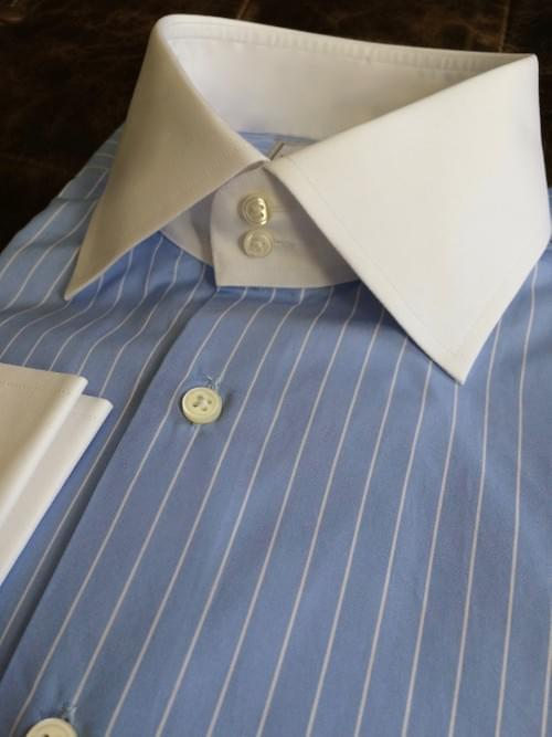 French Blue Striped Tailored Executive Shirt