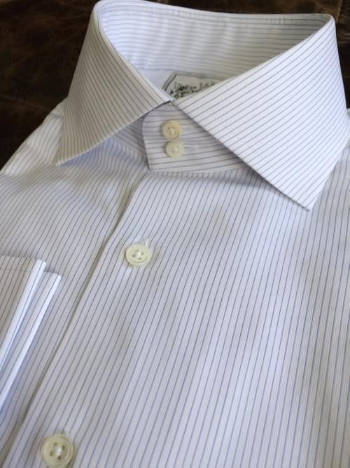 Light Blue Thin Stripe Tailored Executive Shirt