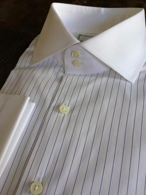 Navy Pencil Stripe Tailored Executive Shirt