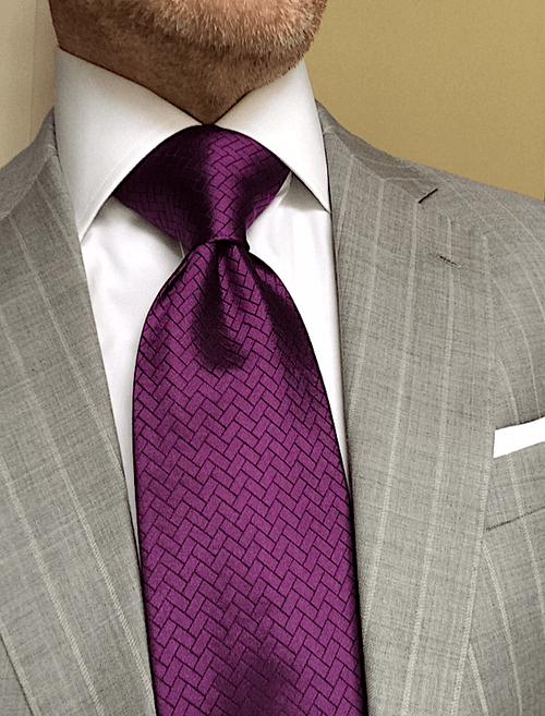 Purple Herringbone Tile Tie