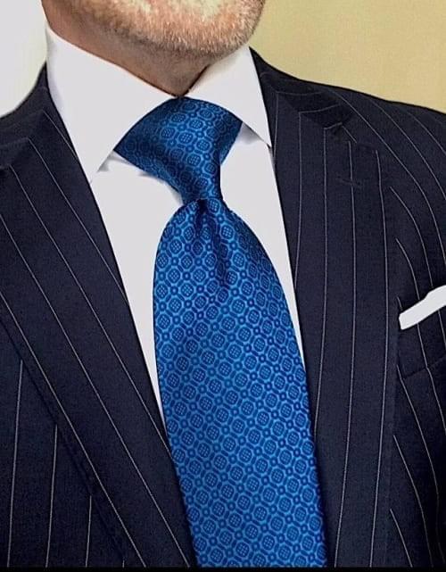 Peacock Navy Blue Micro-Medallion Tie