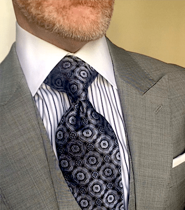 Silver Blue Medallion Tie